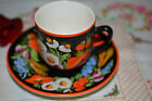 VINTAGE  CZECHOSLOVAKIA  FLORAL HANDPAINTING CUP & SAUCER signed