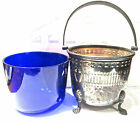 ANTIQUE SILVER BASKET COBALT BLUE GLASS LINER HINGED HANDLE estate sale