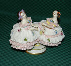 GERMAN DRESDEN LACE BALLERINAS-TWO * ANTIQUE * WOMEN DANCING-ITEM NUMBER THREE