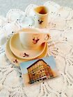 Purple Cow Coffee Shops Cup Saucer Plate & Creamer With Postcard Shenango