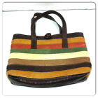 Vintage 1960s Striped Vinyl Brown Boho Shoulder Pockets Small Tote Bag Purse