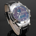 Christmas Gift Coffee Dial Dual Time Style Mens Business Style Dress Wirst Watch