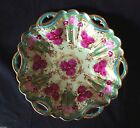 NIPPON JAPANESE BOWL  GOLD BEADING RED ROSES SIGNED 10 inch LARGE PLATE