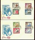 Gambia #153-60 Short QEII Set on 2 Unaddressed First Day Covers from 1953