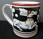Deruta Pottery Siena Pattern Mug Hand-Painted Made In Italy White Brown Black