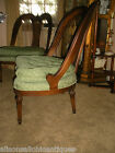 French Inlaid Spoon Chair Heart Back Tufted Seat Cushion Cane Back