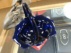 Large Heavy Dark Cobalt Blue Fenton Glass Basket with Nice Handle 133