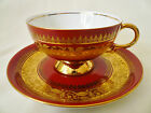 RW Bavaria Germany ~ RED & GOLD BAND ~ Leaf Pattern TEACUP cup saucer