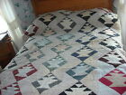 Antique PIECED PATCHWORK BASKET QUILT Hand Quilted, Calico Fabrics 62x78, Early