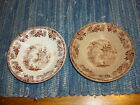 *2* Antique Aesthetic Transferware Brown SAUCE DISHES Pattern Unknown