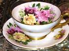 STANLEY TEA CUP AND SAUCER GOLD GILT TRI-ROSES on PEACH TEACUP