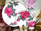 CUP & SAUCER TRIO * HAWAIIN FLOWERS PINK HIBISCUS HAND PAINTED TEACUP