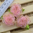 10pcs Satin Ribbon Carnation Flower With Leaf Appliques/Craft/Wedding B096