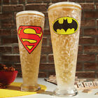 NEW (Set) Dc Comics Superhero Duo Batman And Superman Logo Pilsner Freezer Glass