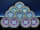 10 BEAUTIFUL ANTIQUE CARL TIELSCH GERMANY PORCELAIN HAND PAINTED DINNER PLATES