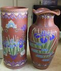 2 FINE ART DECO VINTAGE JAPANESE MORIAGE EARTHENWARE OR TERRACOTTA POTTERY VASES