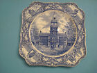 Square COLONIAL TIMES by Crown Ducal England Blue Plate Independence Hall 8