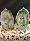 Pair of  Victorian Bisque Porcelain Wall Plaques Occupied Japan Man & Lady