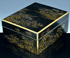 MUSEUM QUALTY 19THC JAPANESE SILVER & GOLD LACQUERED SPIDER WEB SCENIC TABLE BOX