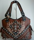 WESTERN BROWN TAN TOOLED STITCHED  BLING RHINESTONE CROSS SHOPPER TOTE PURSE BAG