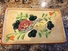 Vintage Ceramic Pottery Jewelry Trinket Box Flower Hand Painted Signed