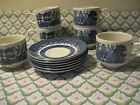 BLUE WILLOW 12 Pc Churchill England Set of 6 Cup and 6 Saucer Plate EUC NICE!