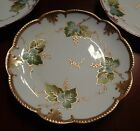 5 AK Limoges Plates Hand Painted Heavy Gold Paste Vine & Berry Design 1890's EXC