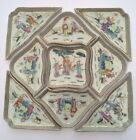 Canton Famille Rose Chinese Export Antique Qing Porcelain Dish Tray Bowl Set