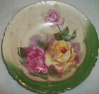 9509 Hand Painted Embossed Bowl Pink & Yellow Roses Green with Gold Trim Germany