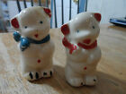 Antique Vintage Salt & Pepper Shakers - White Bears - Red & Blue Scarf -UNMARKED