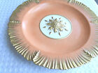 ANTIQUE MOTTAHEDEH DESIGN ITALY  SALMON  PINK PLATE SCALLOPED GOLD RIM  & FLOWER