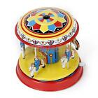 RETRO Tin Toy Retro Fairground Merry Go Round Horse Carousel PULL LEVER ACTION