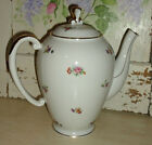 VINTAGE LIMOGES COFFEE TEA POT ~ Creamy White with Pink & Yellow Flowers