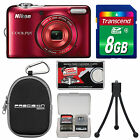 Nikon Coolpix L30 HD VR Digital Camera Red Kit USA