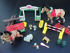 Vintage Toy Equestrian Set 2 Flocked Horses with Real Fur Mane & Tail Over 30 pc