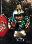 Miami Dolphins Blown Glass Football Player Ornament - CASE LOT OF (6)