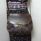 Vintage Dark Brown TOOLED Painted Leather Smaller Crossbody Bag Purse Tote