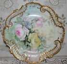 LARGE ANTIQUE FINE PORCELAIN HAND PAINTED W/ ROSES CABINET PLATE   GORGEOUS