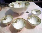 VINTAGE HAND PAINTED NIPPON PORCELAIN NUT CUP SET GOLD GILT GRAPE DESIGN 5 PCS