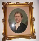 19th NINETEENTH CENTURY CHARCOAL PASTEL PORTRAIT OF A GENTLEMAN GLASS FRAMED