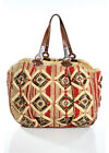 JAMIN PEUCH Multi-Color Striped Straw Leather Beaded Detail Large Tote Handbag