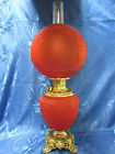 Victorian Style Ruby Red Satin Gone With The Wind Hurricane Parlor Table Lamp