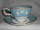 Turquoise Ellesmere Bone China Crown Staffordshire England Tea Cup and Saucer b