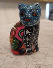 Mexican Folk Art Pottery Cat Figurine Hand Painted Man Women Figures on Back