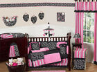 PINK AND BLACK BABY CRIB BEDDING SET FOR NEWBORN GIRL ROOM BY SWEET JOJO DESIGNS