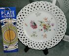 Vintage WHITE Plate with FLORAL DETAILS SCALLOPED EDGES with DIAMOND Cut Outs