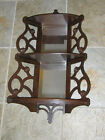 Antique Three Tier corner or flat Wall Shelf Vintage Scroll Solid Wood
