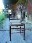 ANTIQUE OAK/CHESTNUT PRESSED-BACK CHAIR with PRESSED CANE SEAT*FOR PICK-UP ONLY