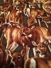 1 Yard Deer Hunter Forest Nature Cabin Woods Cotton Fabric Green Buck Animal