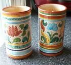 Quite Old!  DERUTA, Italy ~SET of 2 Small MAJOLICA Art Pottery Cylindrical Vases